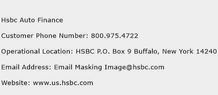 Hsbc Auto Finance Phone Number Customer Service