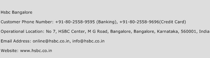 Hsbc Bangalore Phone Number Customer Service