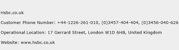 Hsbc.co.uk Phone Number Customer Service