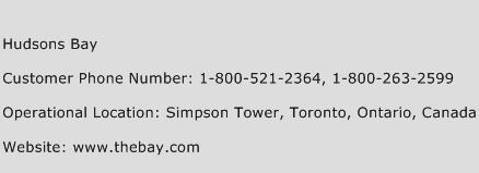 Hudsons Bay Phone Number Customer Service