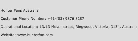 Hunter Fans Australia Phone Number Customer Service