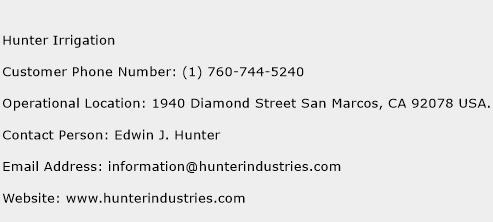 Hunter Irrigation Phone Number Customer Service