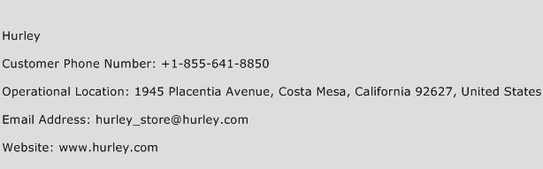 Hurley Phone Number Customer Service