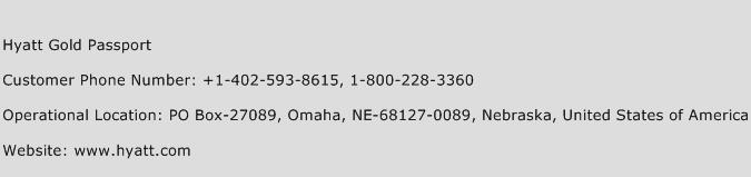 Hyatt Gold Passport Phone Number Customer Service