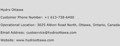 Hydro Ottawa Phone Number Customer Service