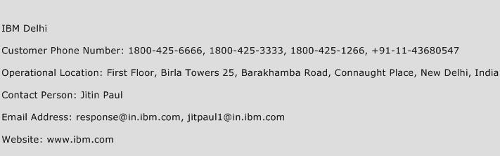 IBM Delhi Phone Number Customer Service