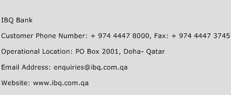 IBQ Bank Phone Number Customer Service
