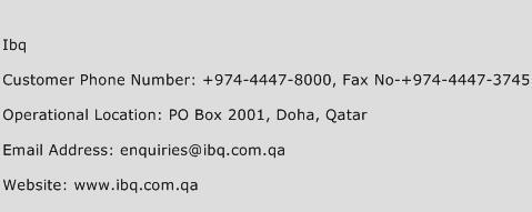 IBQ Phone Number Customer Service