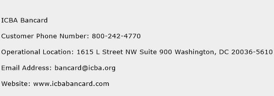 ICBA Bancard Phone Number Customer Service