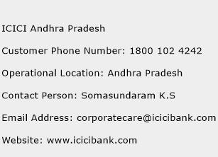 ICICI Andhra Pradesh Phone Number Customer Service