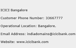 ICICI Bangalore Phone Number Customer Service