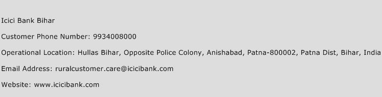 ICICI Bank Bihar Phone Number Customer Service