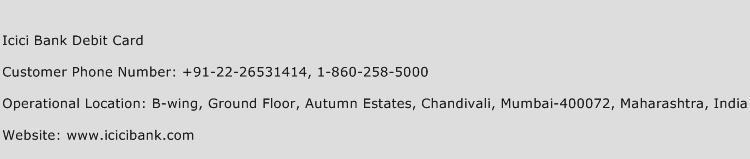ICICI Bank Debit Card Phone Number Customer Service
