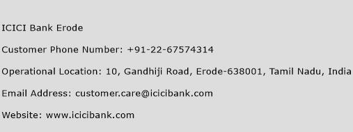ICICI Bank Erode Phone Number Customer Service