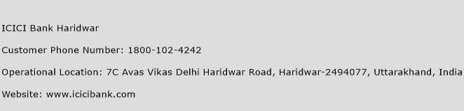 ICICI Bank Haridwar Phone Number Customer Service