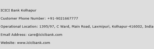 ICICI Bank Kolhapur Phone Number Customer Service