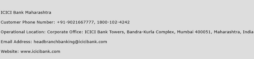 ICICI Bank Maharashtra Phone Number Customer Service