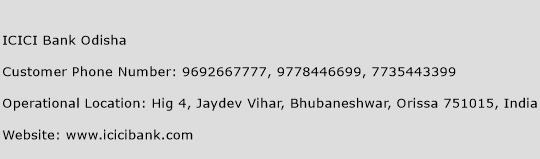 ICICI Bank Odisha Phone Number Customer Service