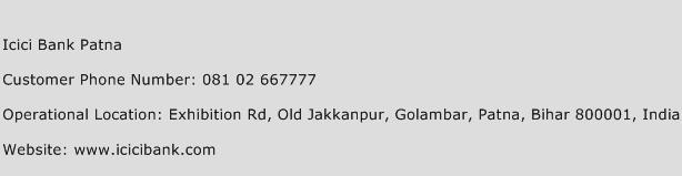 ICICI Bank Patna Phone Number Customer Service