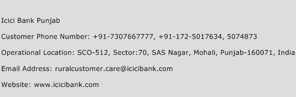 ICICI Bank Punjab Phone Number Customer Service