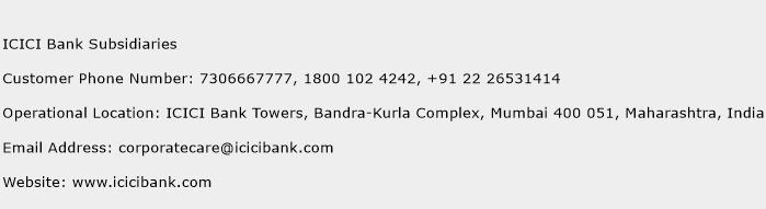 ICICI Bank Subsidiaries Phone Number Customer Service