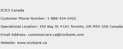 ICICI Canada Phone Number Customer Service