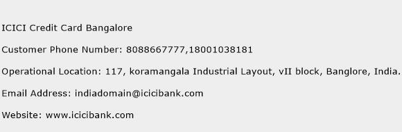 ICICI Credit Card Bangalore Phone Number Customer Service