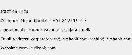 ICICI Email Id Phone Number Customer Service