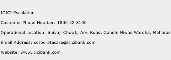 ICICI Escalation Phone Number Customer Service