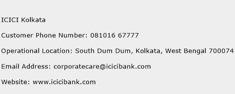 ICICI Kolkata Phone Number Customer Service