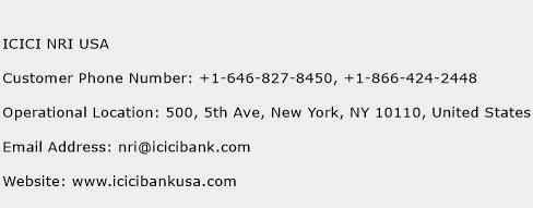 ICICI NRI USA Phone Number Customer Service