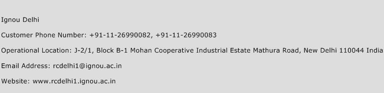 IGNOU Delhi Phone Number Customer Service