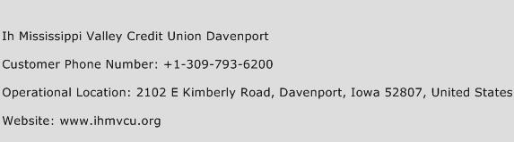 IH Mississippi Valley Credit Union Davenport Phone Number Customer Service