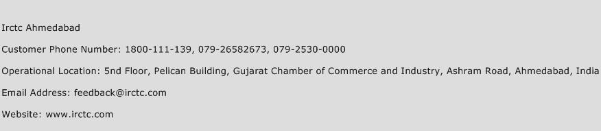 IRCTC Ahmedabad Phone Number Customer Service