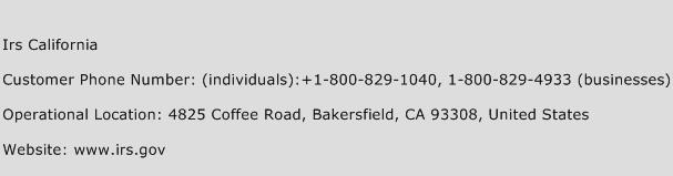 IRS California Phone Number Customer Service
