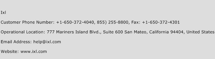 IXL Phone Number Customer Service
