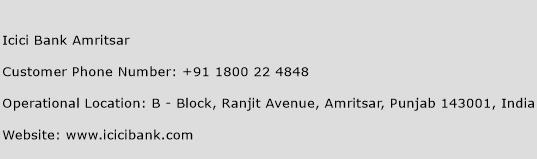 Icici Bank Amritsar Phone Number Customer Service