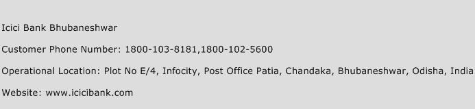 Icici Bank Bhubaneshwar Phone Number Customer Service