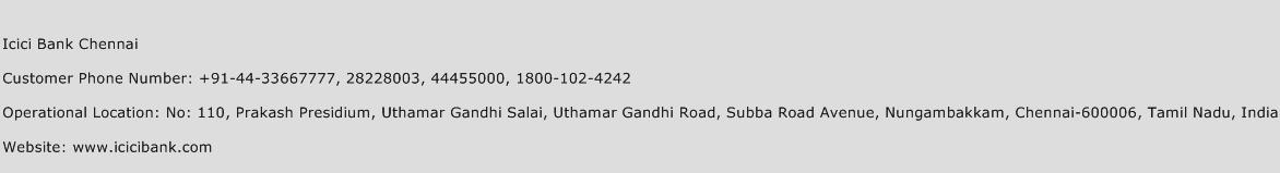 Icici Bank Chennai Phone Number Customer Service