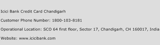 Icici Bank Credit Card Chandigarh Phone Number Customer Service