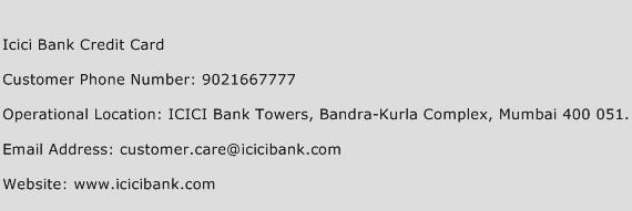 Icici Bank Credit Card Phone Number Customer Service