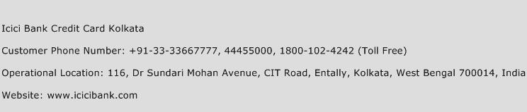 Icici Bank Credit Card Kolkata Phone Number Customer Service