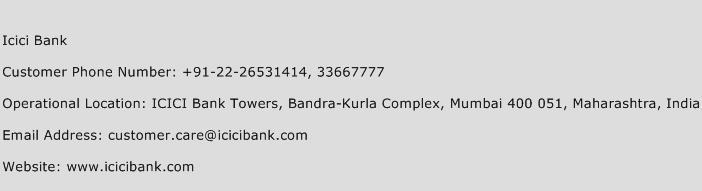Icici Bank Phone Number Customer Service