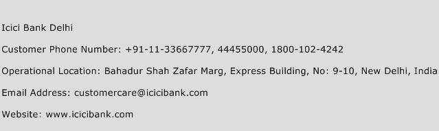 Icici Bank Delhi Phone Number Customer Service