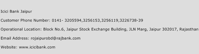 Icici Bank Jaipur Phone Number Customer Service