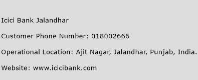 Icici Bank Jalandhar Phone Number Customer Service