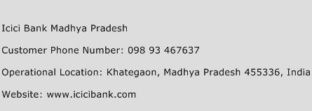 Icici Bank Madhya Pradesh Phone Number Customer Service
