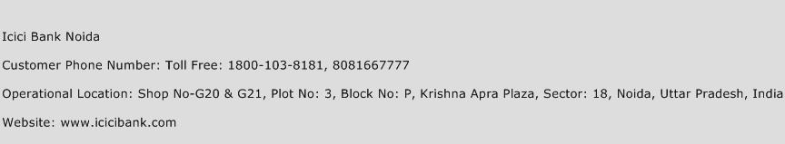 Icici Bank Noida Phone Number Customer Service