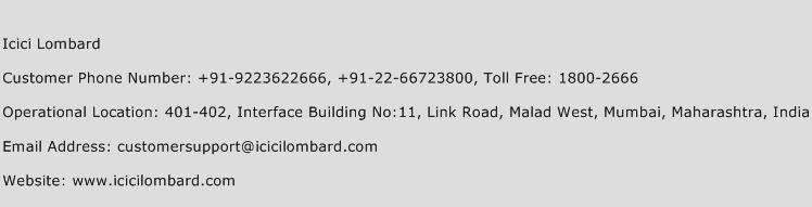 Icici Lombard Phone Number Customer Service