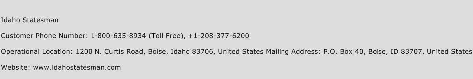 Idaho Statesman Phone Number Customer Service